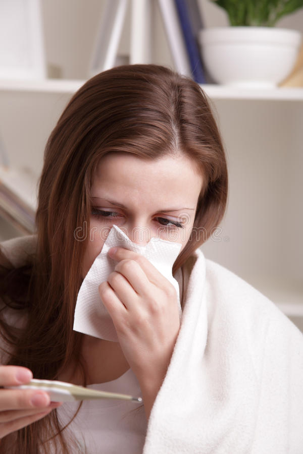 Download She suffers a cold stock image. Image of medicine, expression - 24889311