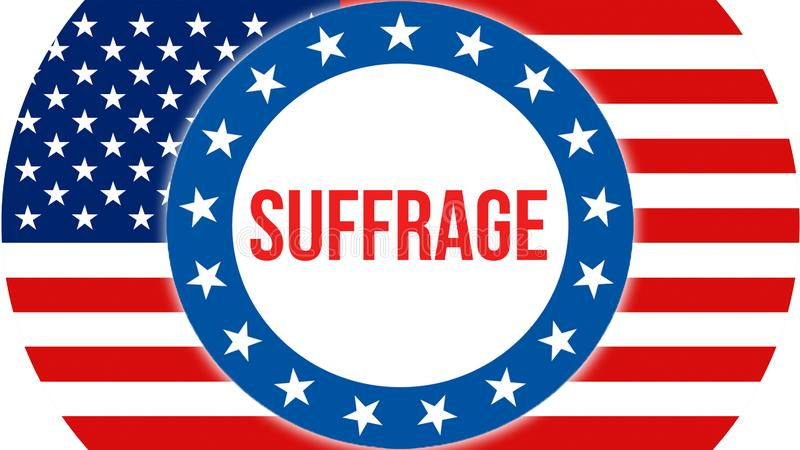 Suffrage election on a USA background, 3D rendering. United States of America flag waving in the wind. Voting, Freedom Democracy,. Suffrage concept. US stock illustration