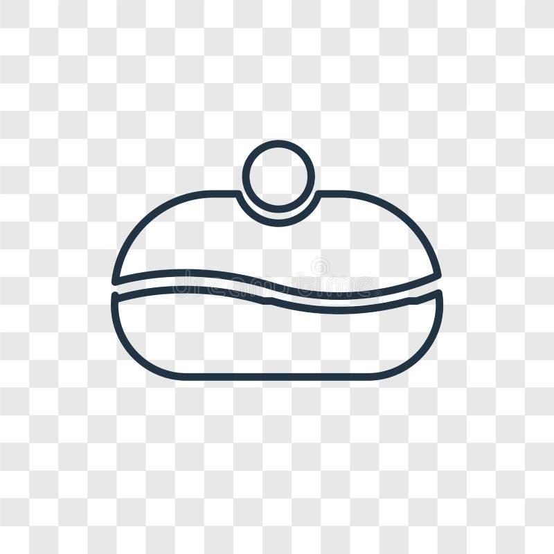 Sufganiyah pojęcia wektorowa liniowa ikona odizolowywająca na przejrzystych półdupkach ilustracja wektor