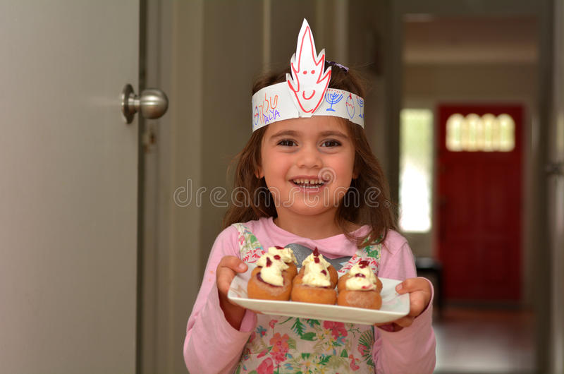Sufganiyot -光明节犹太假日食物 库存图片