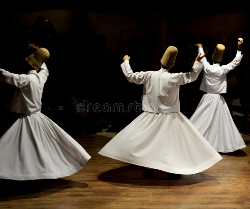 Sufi Music, whirling dervishes show, cappadocia, turkey. Dancer royalty free stock photography