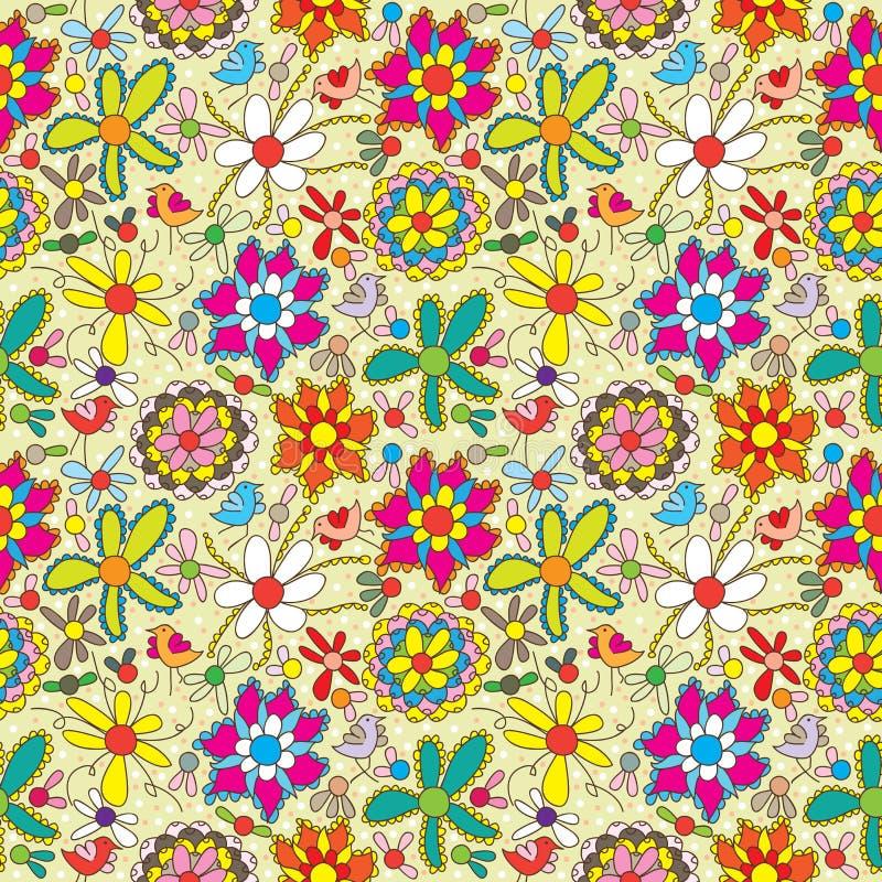 Suficiência Pattern_eps sem emenda colorido da flor ilustração do vetor