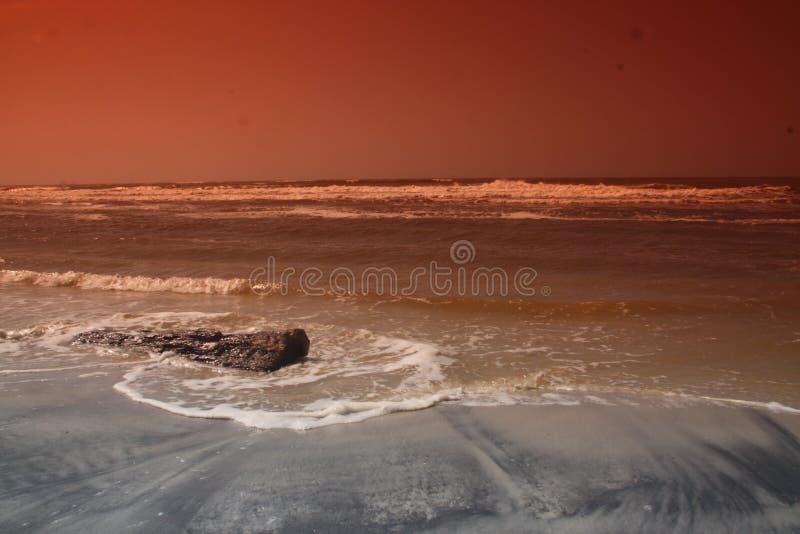 sufr和海岸线照片海滩的 免版税库存图片