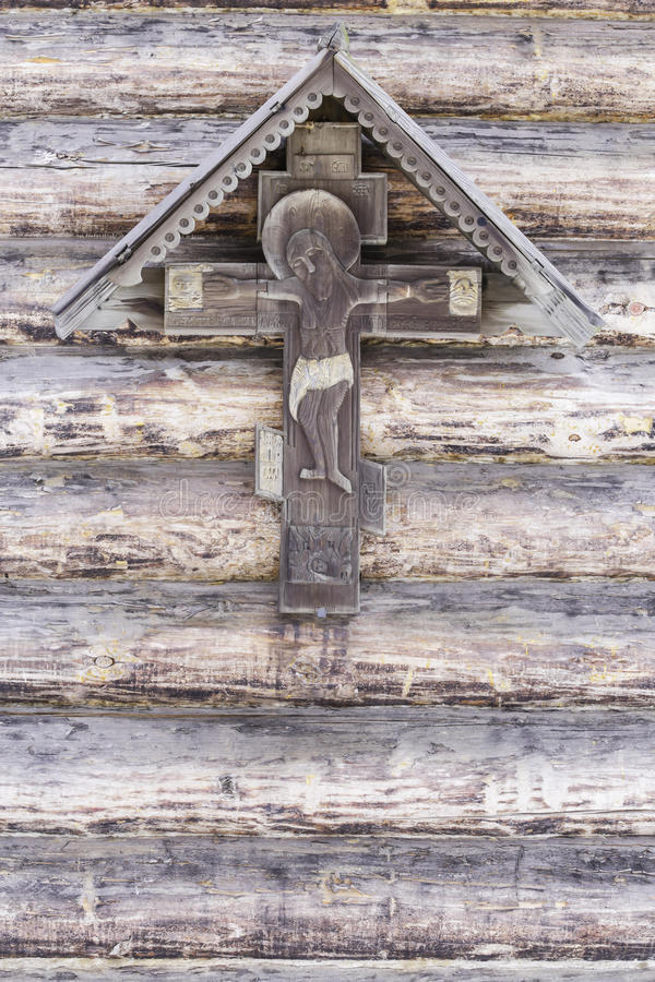 Sufrimiento de Jesus Christ en la pared de madera vieja fotos de archivo libres de regalías