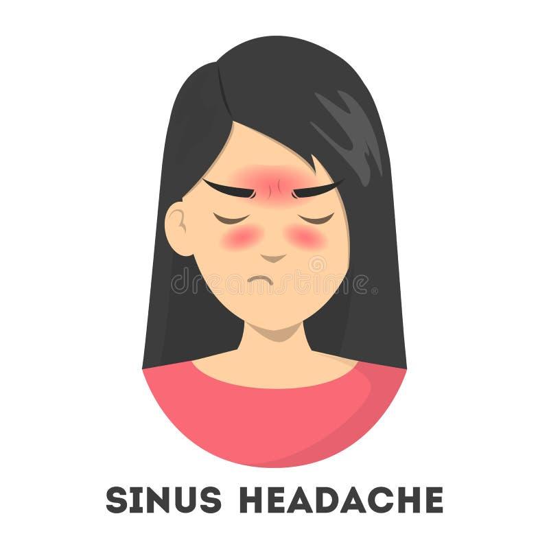 Sufrimiento de la mujer del dolor de cabeza de sino Infección nasal libre illustration