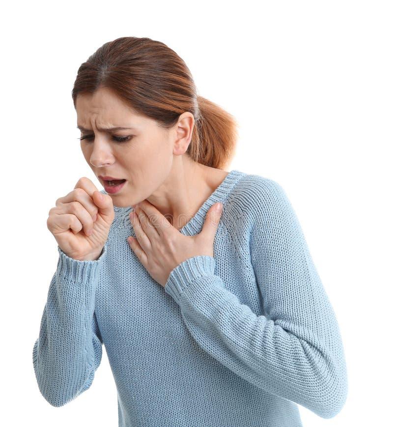 Sufrimiento de la mujer de la tos foto de archivo