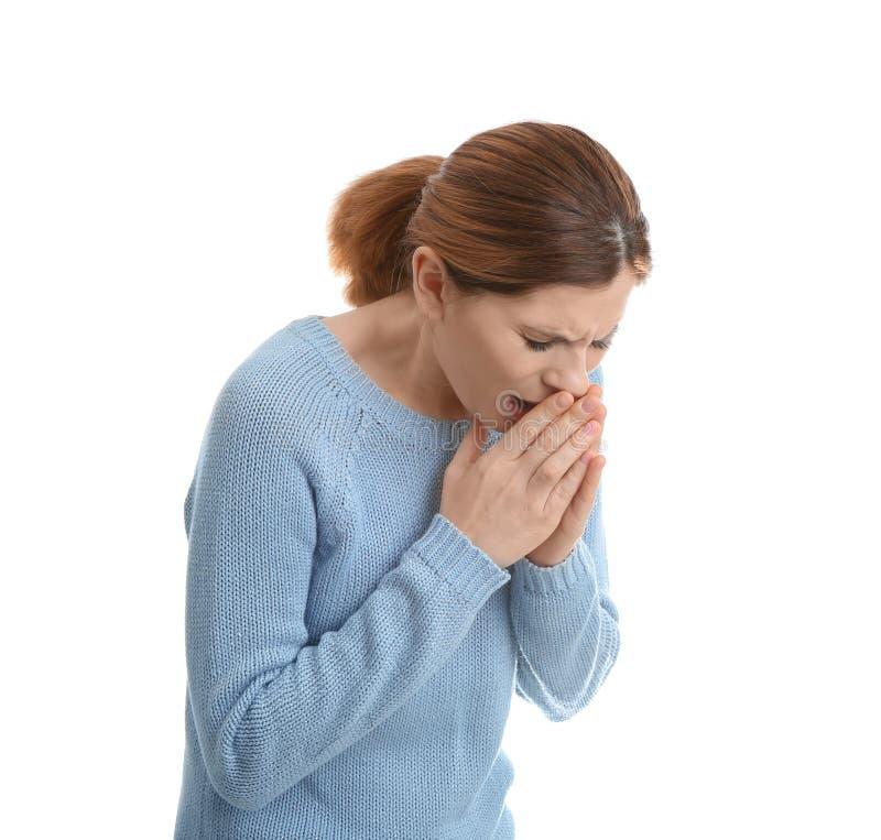 Sufrimiento de la mujer de la tos fotos de archivo libres de regalías
