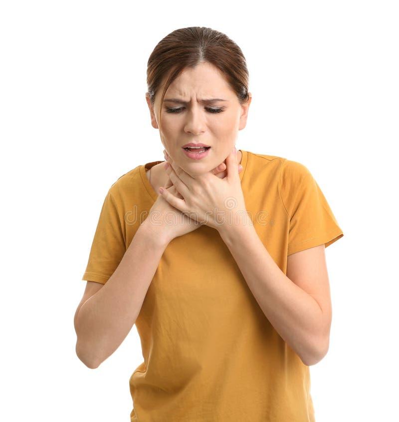 Sufrimiento de la mujer de la tos fotos de archivo