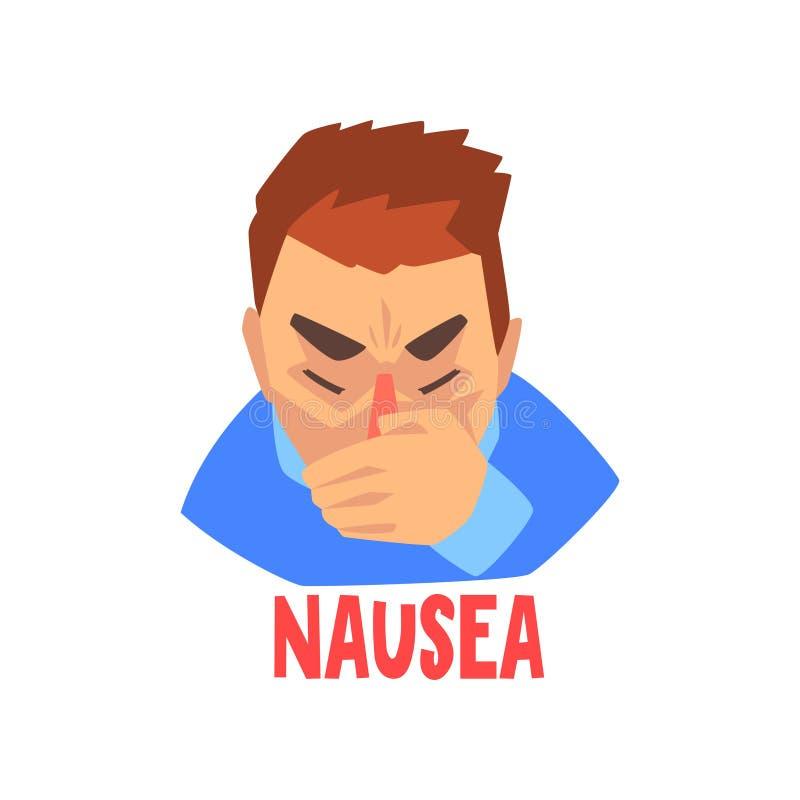 Sufrimiento del hombre de la náusea, ejemplo infeliz enfermo del vector del carácter del hombre libre illustration