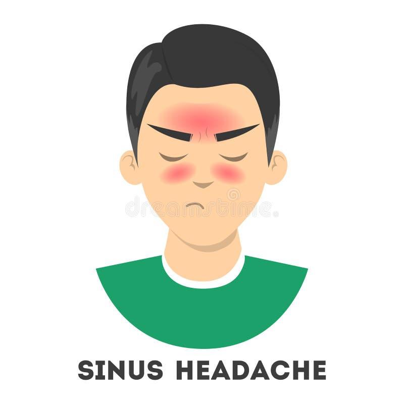 Sufrimiento del hombre del dolor de cabeza de sino Infección nasal stock de ilustración