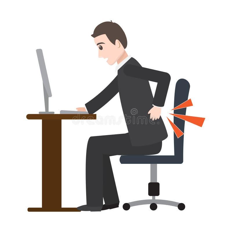 Sufrimiento del hombre del icono del dolor de espalda, ejemplo médico ilustración del vector