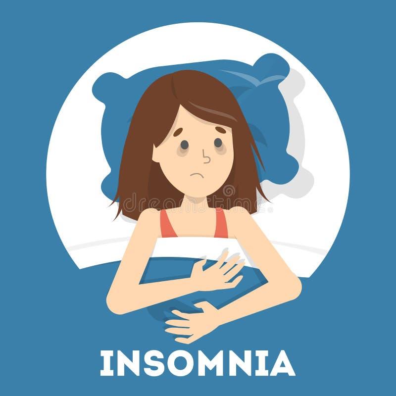 Sufrimiento subrayado de la mujer del sistema del insomnio libre illustration