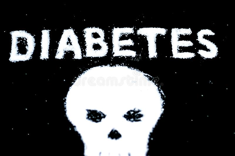 Sugar addiction suggested by spilled white sugar crystals forming a skull. Diabetes mellitus concept. stock photo