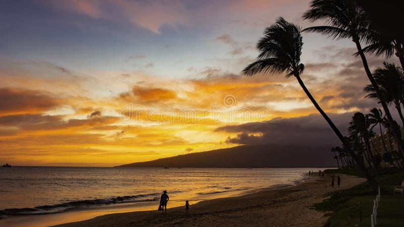 Sugar Beach Kihei Maui Hawaii Etats-Unis photo stock