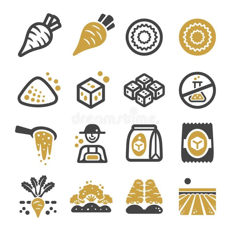 Sugar beet icon set stock illustration
