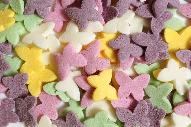 Sugar butterflies for cake decoration. royalty free stock photography