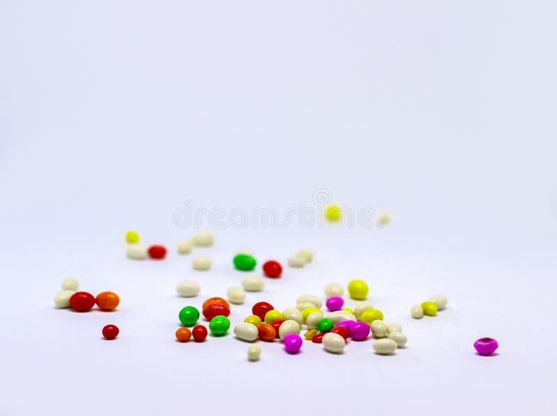 Sugar Candy coloreado múltiplo en el fondo blanco imagen de archivo