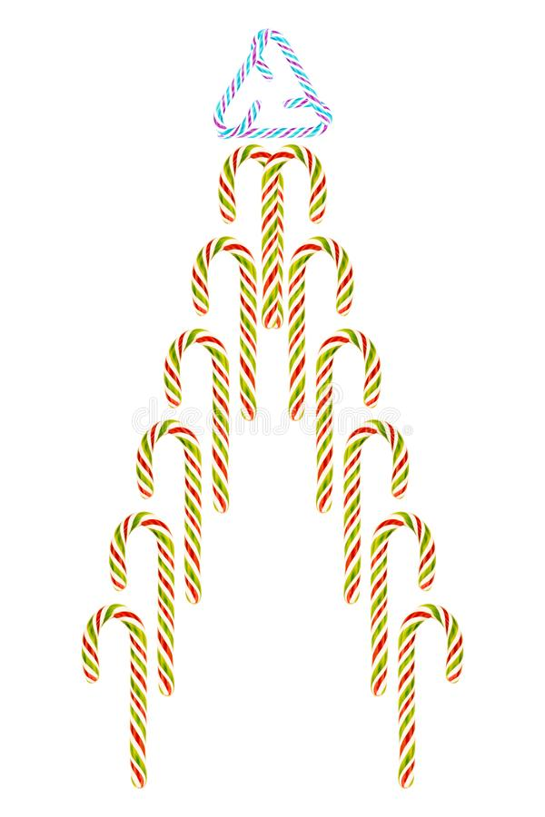 Sugar cane colorful red green abstract design festive Christmas candy tree fountain triangle top royalty free illustration