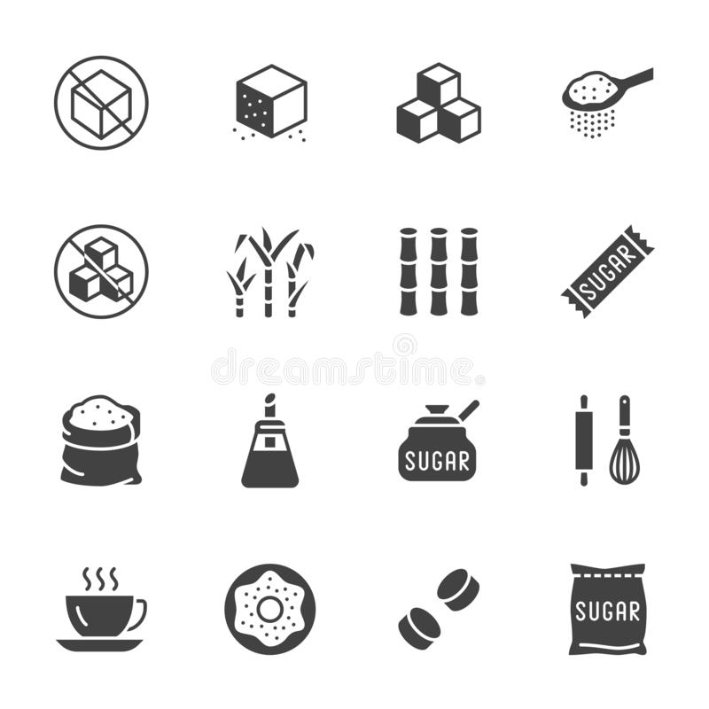 Free Sugar Cane, Cube Flat Glyph Icons Set. Sweetener, Stevia, Bakery Products Vector Illustrations. Signs For Sugarless Food Stock Image - 147696191