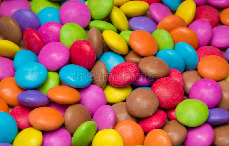 Sugar Coated Candy in various Colours. An assortment of different coloured sugar coated candy stock photos