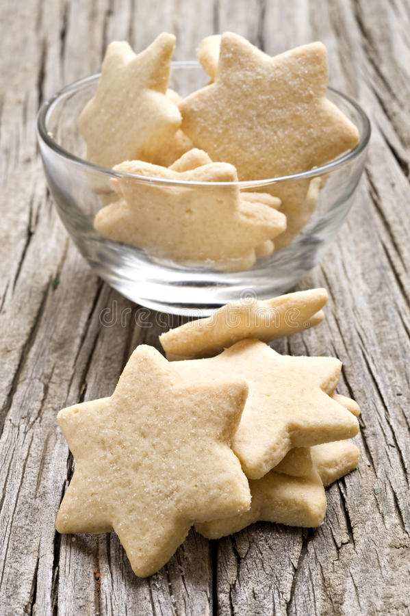 Sugar coated shortbread cookies in star shapes royalty free stock photos