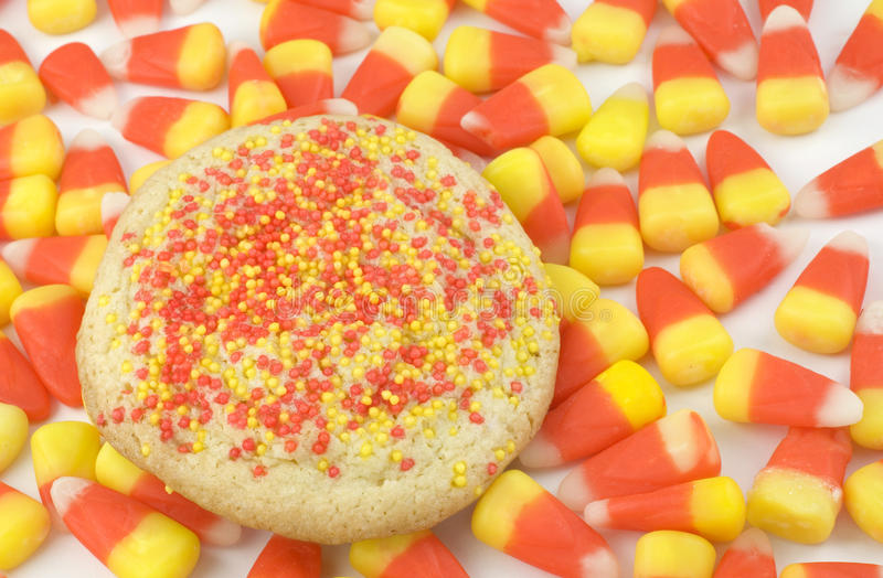 Sugar Cookie on Candy Corn Background royalty free stock photography
