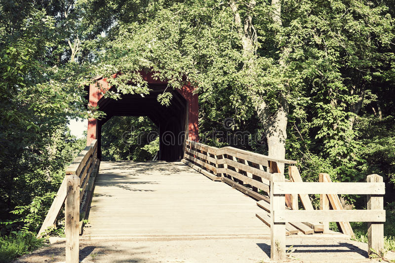Sugar Creek Covered Bridge. Chatham, Illinois, USA stock image