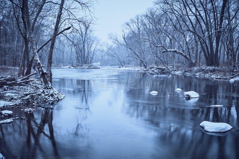 Sugar Creek nell'inverno fotografia stock