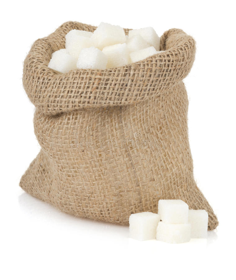 Sugar cubes on white royalty free stock images