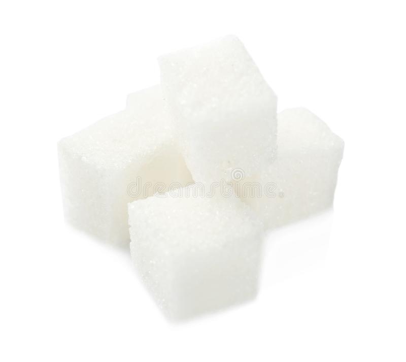 Sugar cubes on background. Sugar cubes on white background royalty free stock photos