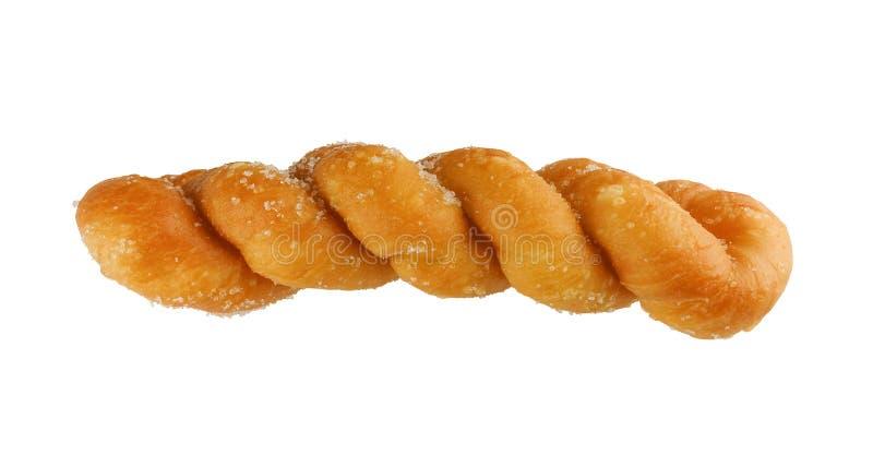 Sugar Donut torció aislado en blanco con la trayectoria de recortes fotografía de archivo