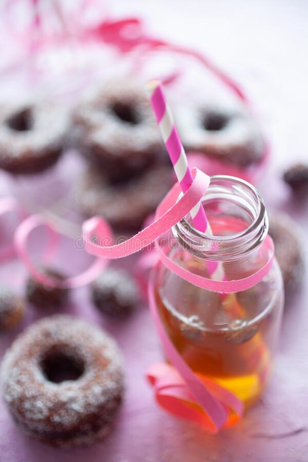 Sugar donuts on pink background stock image