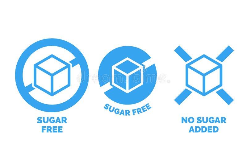 Sugar free label vector nor sugar added package stock illustration
