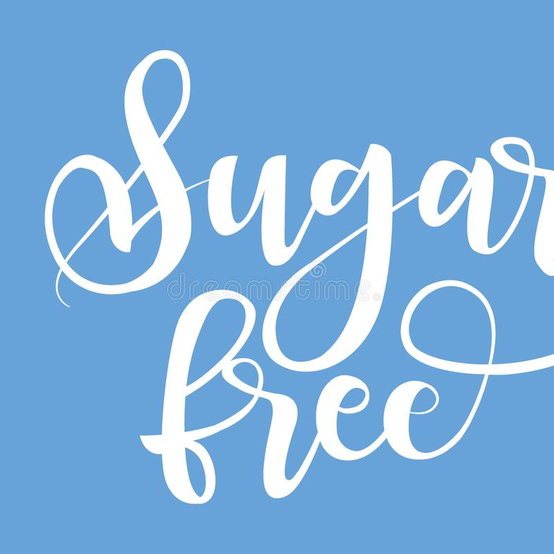 Sugar free product label, black handwriting lettering isolated vector illustration