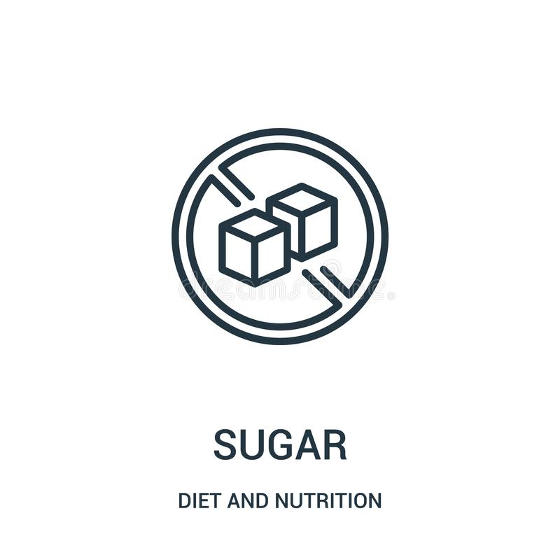 sugar icon vector from diet and nutrition collection. Thin line sugar outline icon vector illustration. Linear symbol royalty free illustration