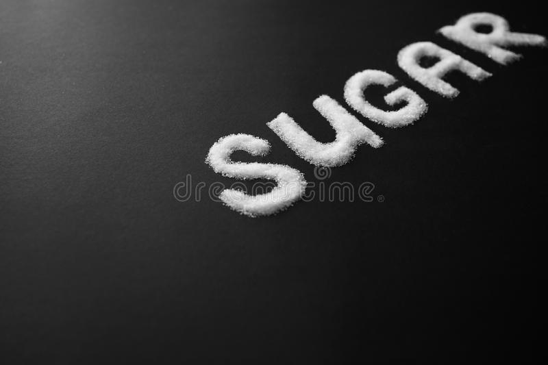 Sugar Inscription On Table branco foto de stock royalty free