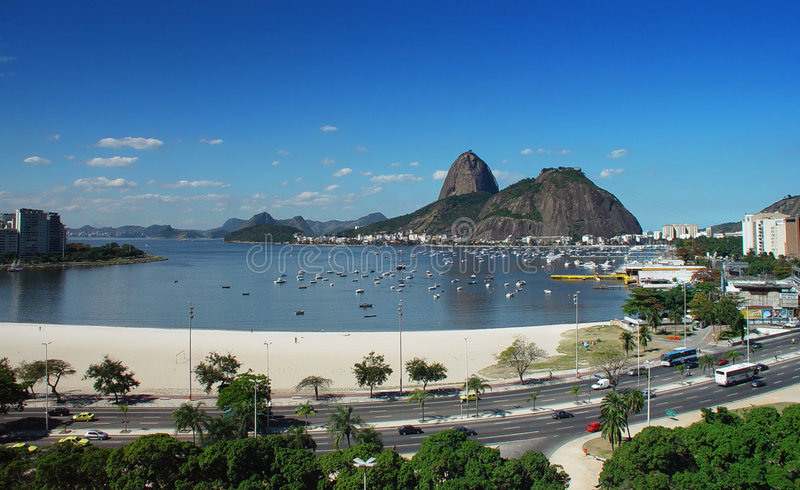 Sugar Loaf. View of the the sugar loaf in the guanabara bay royalty free stock images