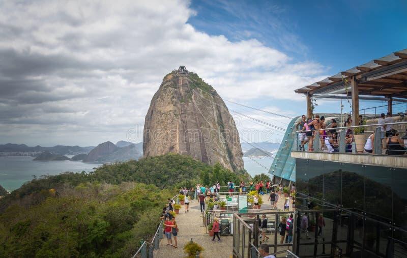 Sugar Loaf Mountain Cable Car-Post bij Urca-Heuvel - Rio de Janeiro, Brazilië royalty-vrije stock afbeelding