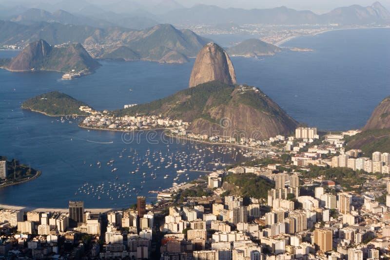 Sugar Loaf, Rio de Janeiro. A panoramic view of Rio de Janeiro, Brazil, including Sugar Loaf and Guanabara Bay stock photo