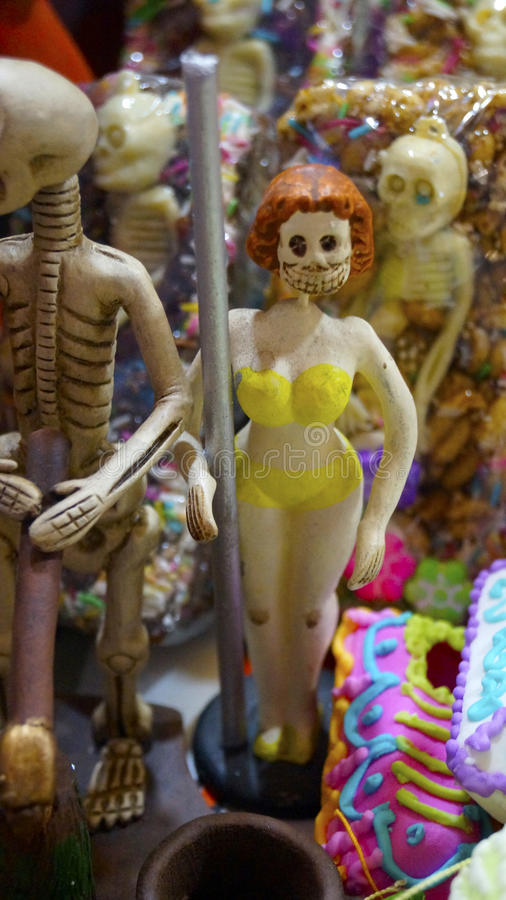 Sugar made table dancer for the mexican day of the dead celebración day stock photo