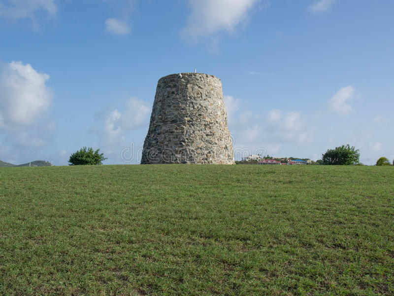 Sugar Mill on a Grassy Hill. In St. Croix, U.S. Virgin Islands stock photography