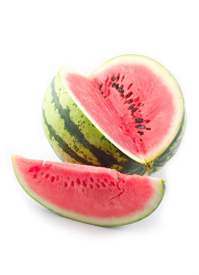 Sugar ripe astrakhan water-melon. Last present red sugar ripe astrakhan water-melon on white background stock photography