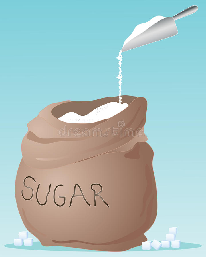 Sugar sack. An illustration of a brown sack full of sugar with metal scoop on a jade green background and space for text vector illustration