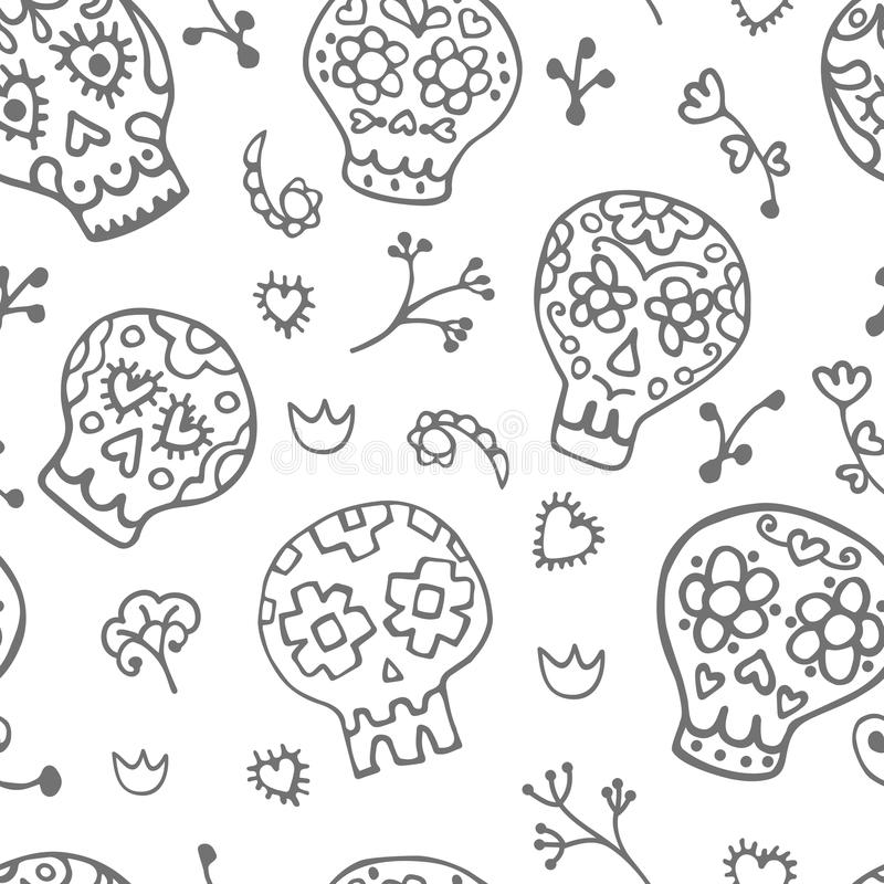 Free Sugar Sculls Doodle Cute Seamless Pattern. Background, Texture Textile Stock Image - 67603231