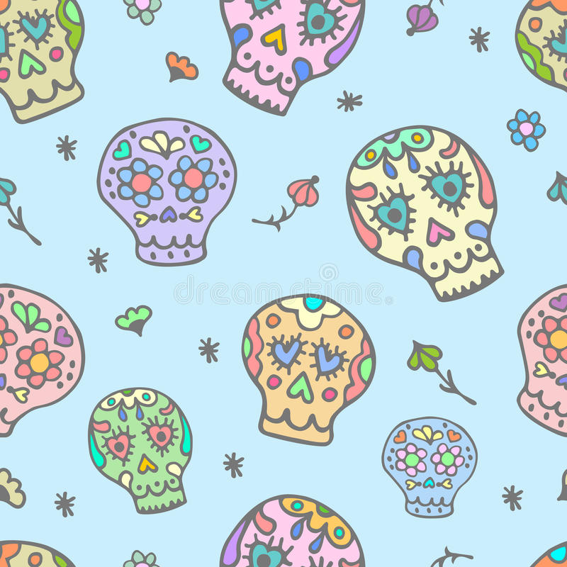 Free Sugar Sculls Doodle Cute Seamless Pattern. Background, Texture Textile Royalty Free Stock Image - 67603316