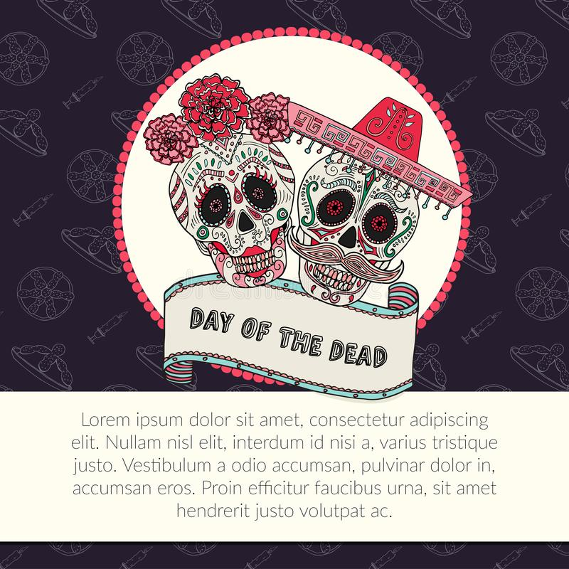 Sugar skull calavera Catrina vector illustration for Day of the Dead. Mexican celebration with copy space vector illustration
