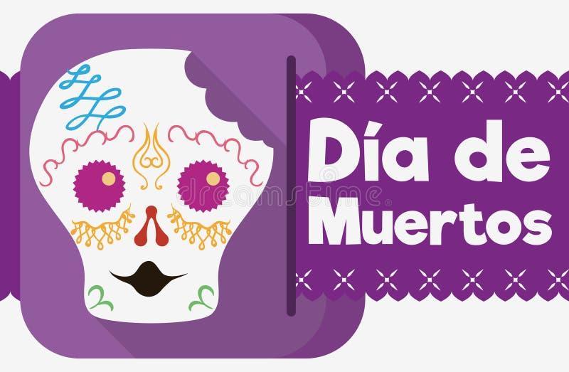 Sugar Skull Celebrating mordido y x22; Dia de Muertos y x22; en estilo plano, Vector el ejemplo stock de ilustración