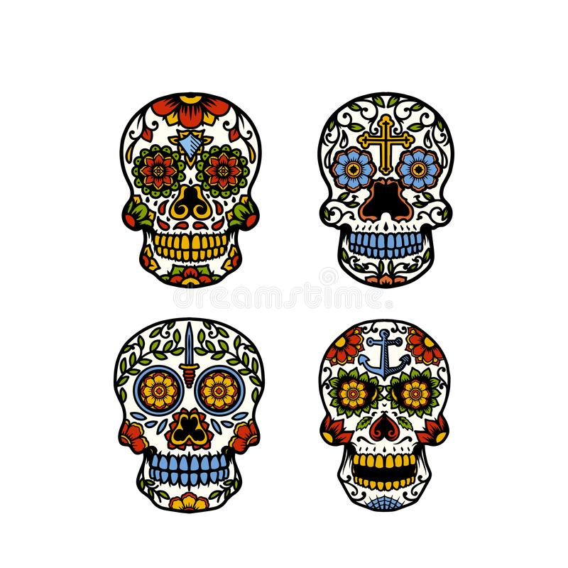 Sugar Skull Collection With Symbols image stock