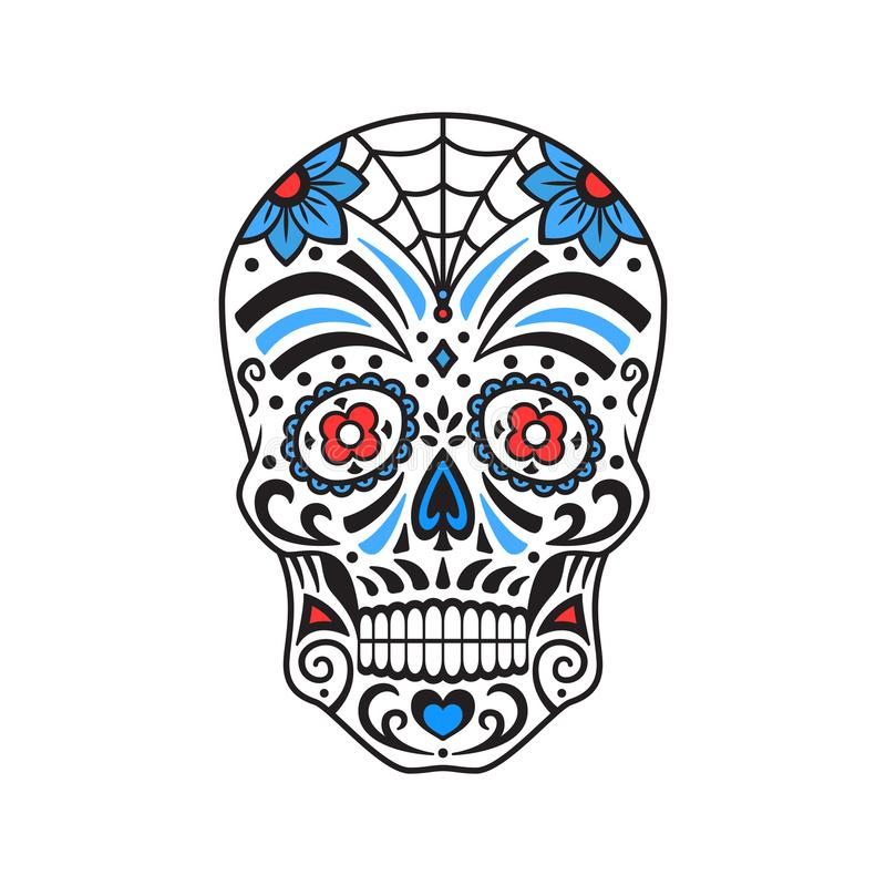 Sugar skull. Colorful tattoo. Mexican Day of the Dead. Vector illustration. Sugar skull. Colorful tattoo. Mexican Day of the Dead. Vector illustration for royalty free illustration
