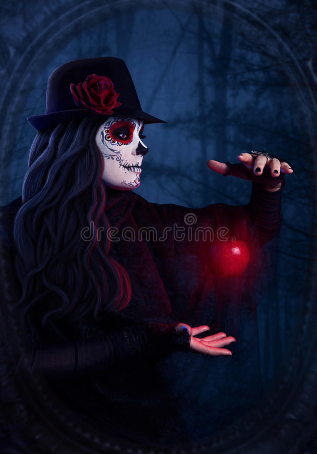 Sugar skull dark magic royalty free stock photo